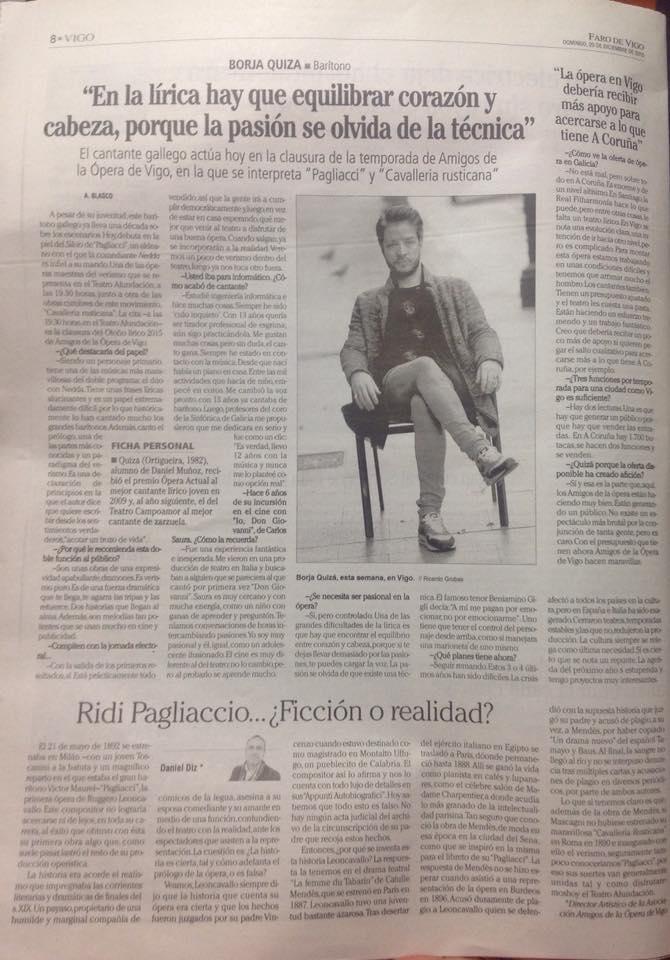 Entrevista a nuestro Silvio/Prólogo en Pagliacci en Faro de Vigo