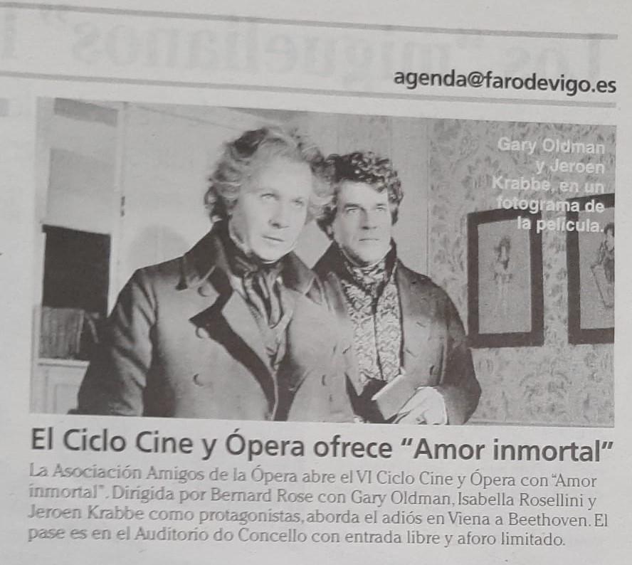 Faro de Vigo. Agenda, primera película ciclo Cine y Ópera