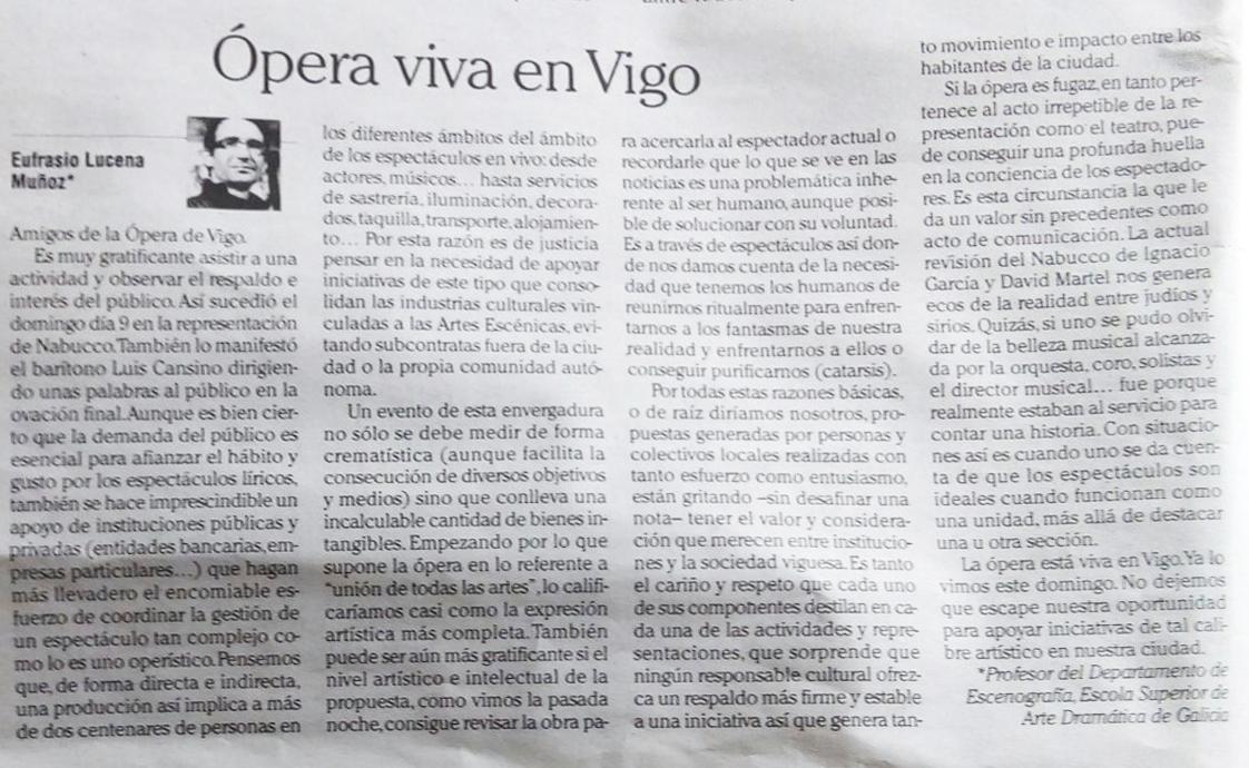 Ópera viva en Vigo, por Eufrasio Lucena