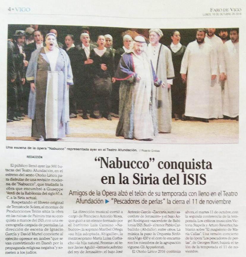 Crítica Nabucco en Faro de Vigo
