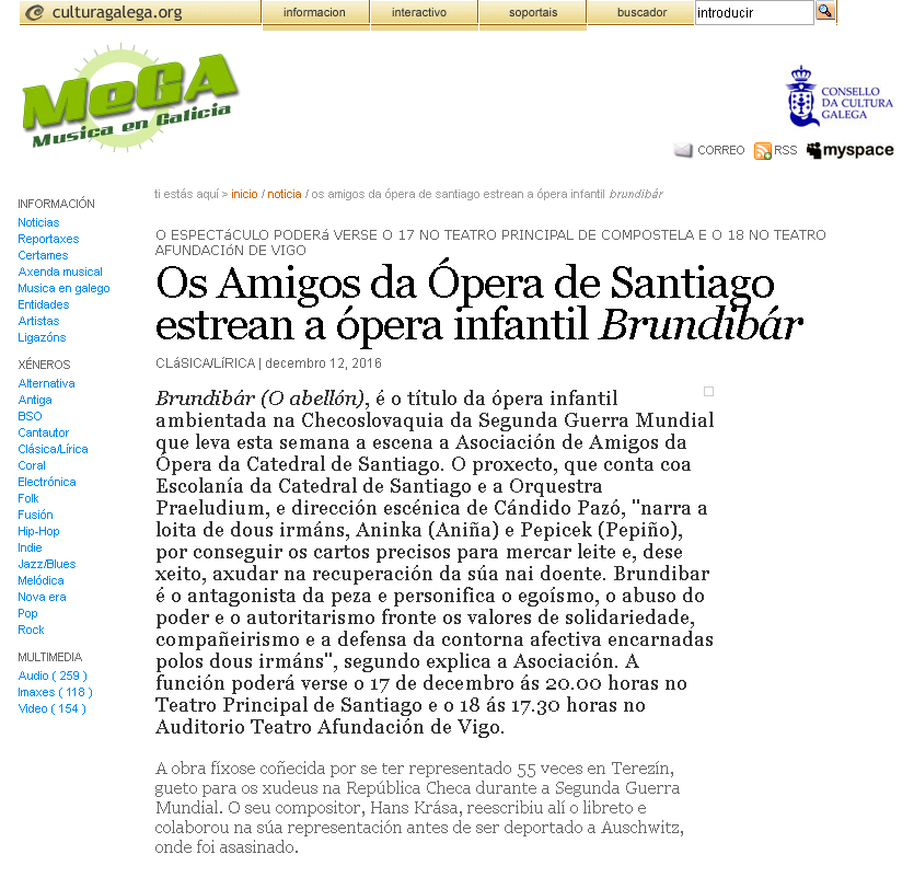 Brundibar en Mega. Música en Galicia