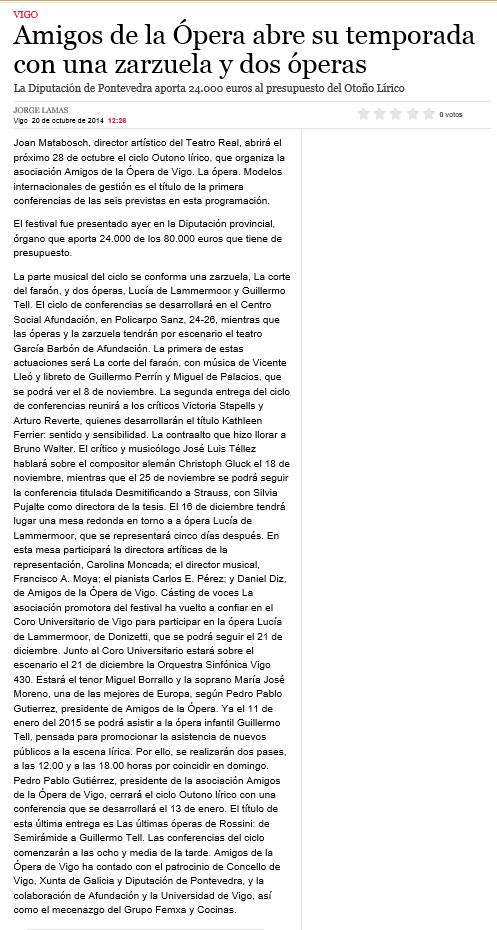 Presentación Temporada. Publicada en La Voz de Galicia