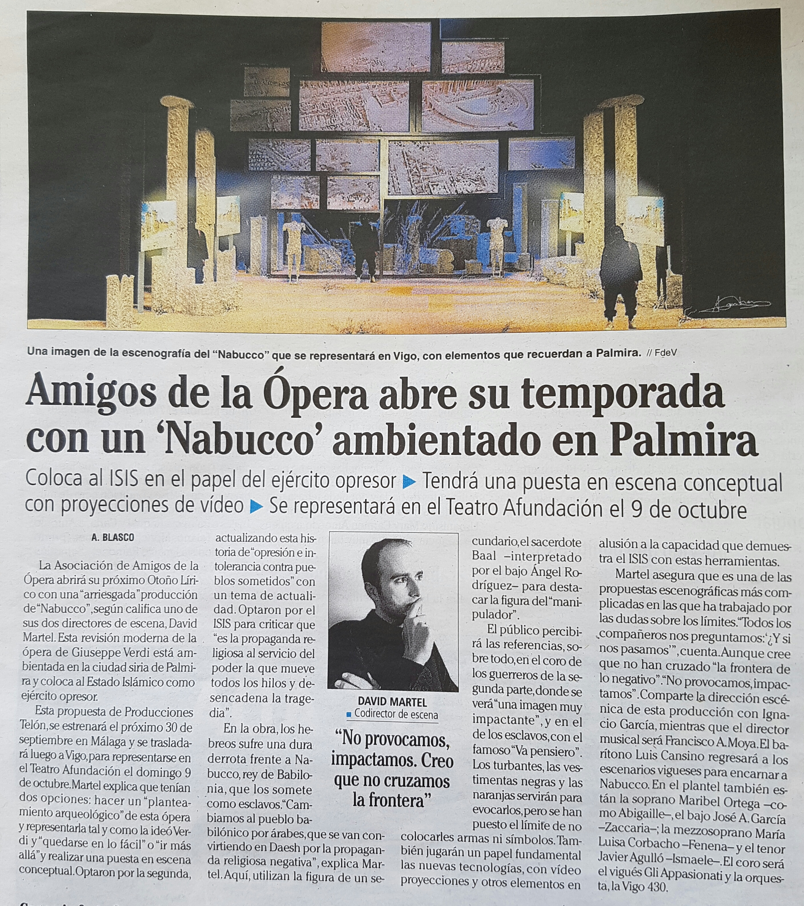 Nuestro Nabucco en Faro de Vigo