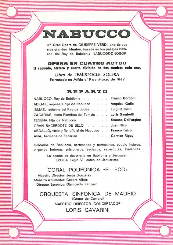 Programa de Mano de 1970