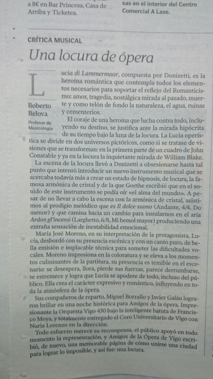 Crítica publicada de Lucia en Faro de Vigo