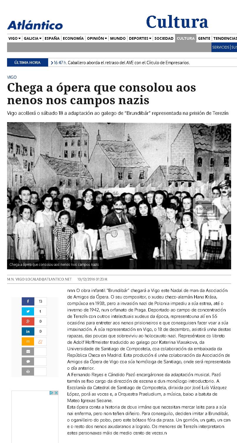 Brundibar en Atlántico Diario