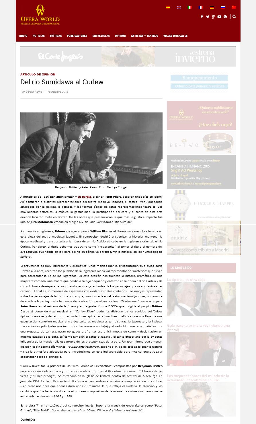 Artículo Curlew River en Ópera World