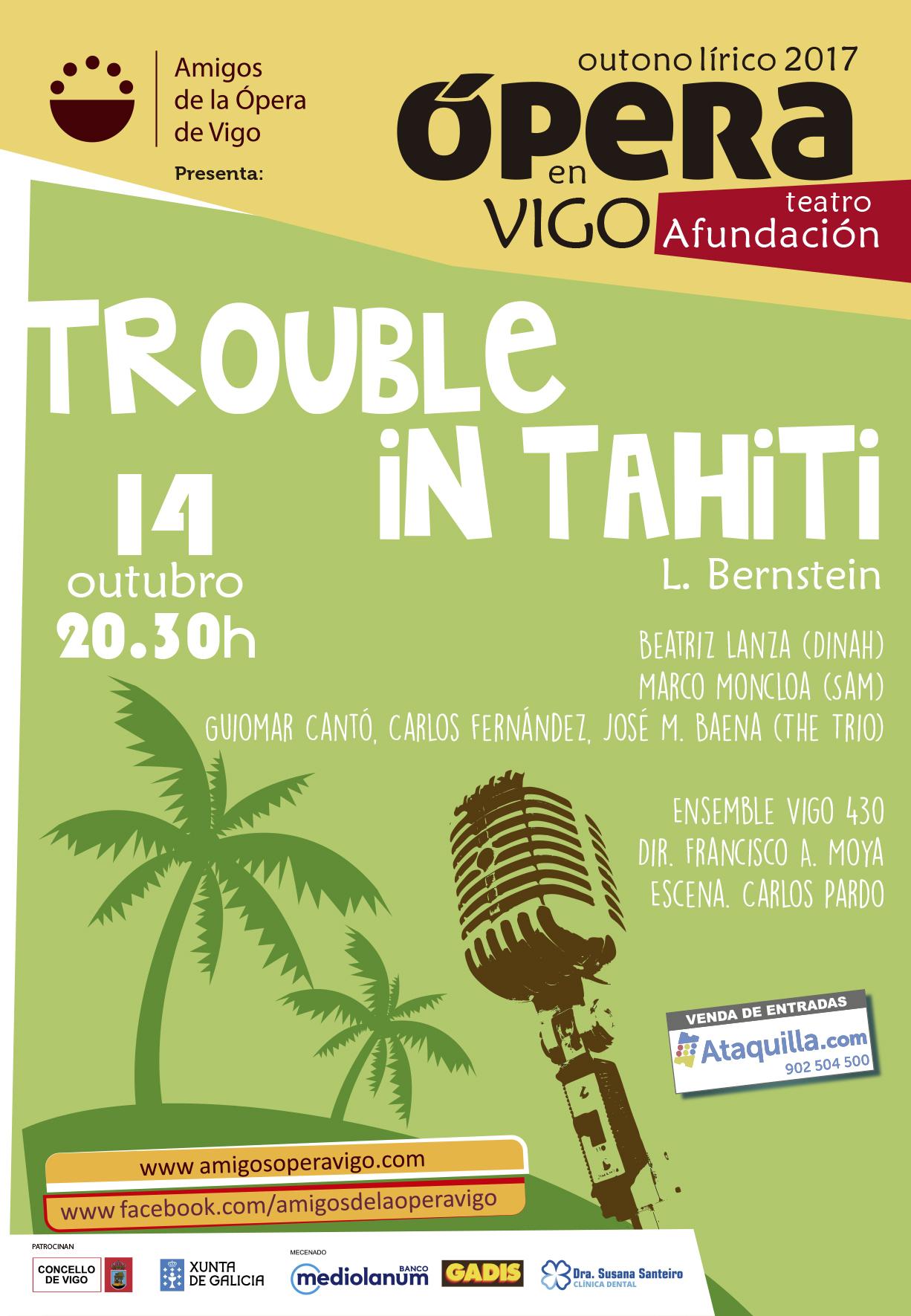 Conferencia el martes y Trouble in Tahiti el sábado