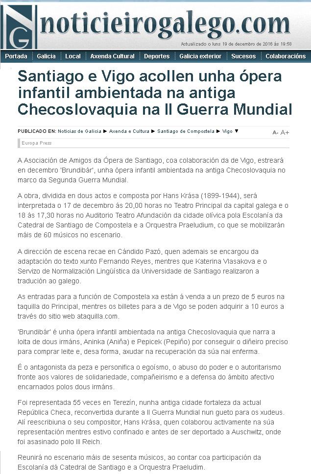 Brundibar en Noticiero Galego