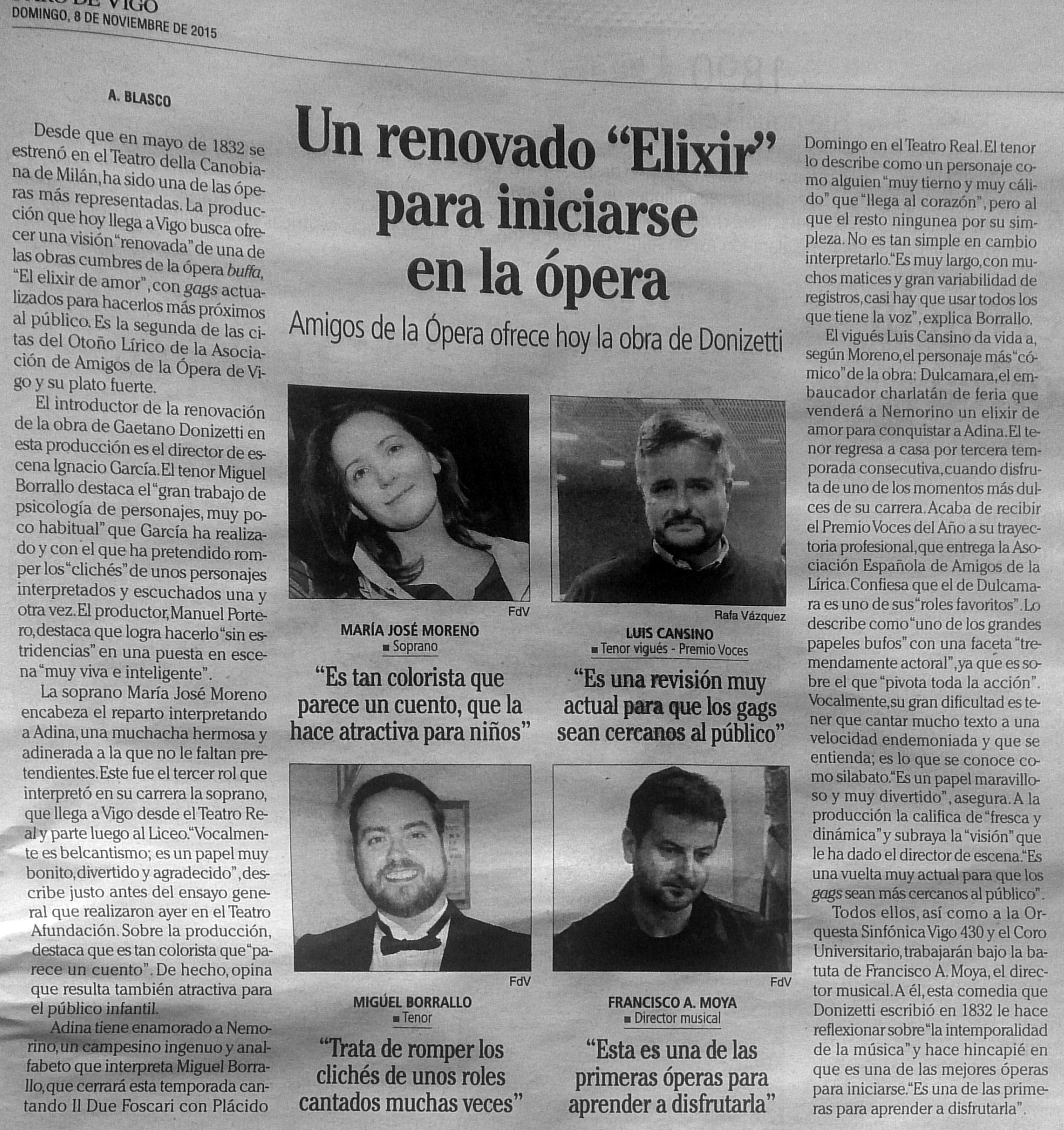 Crónica previa de Elixir de Amor en Faro de Vigo